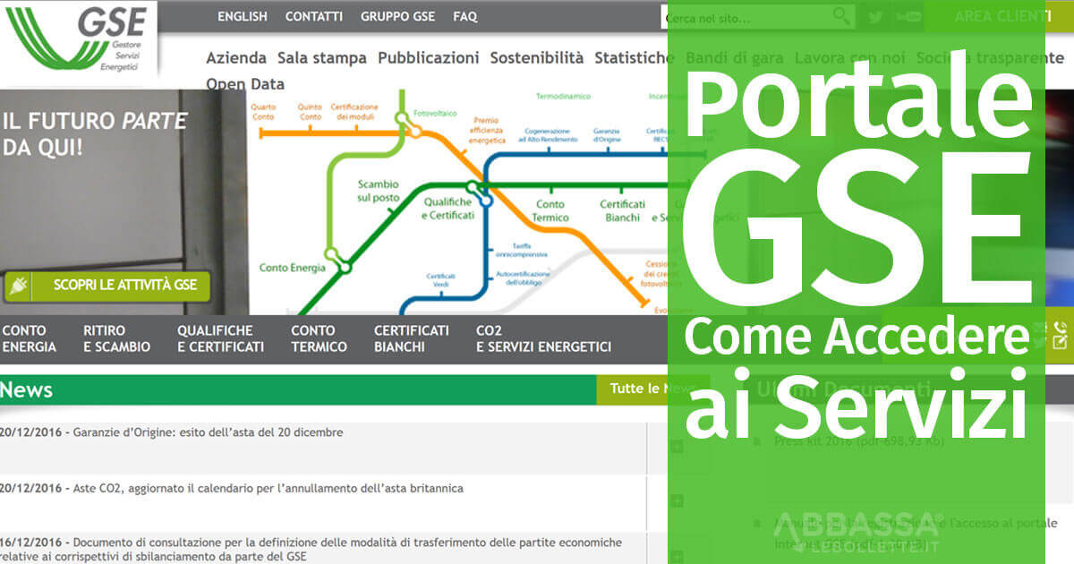 Portale GSE servizi