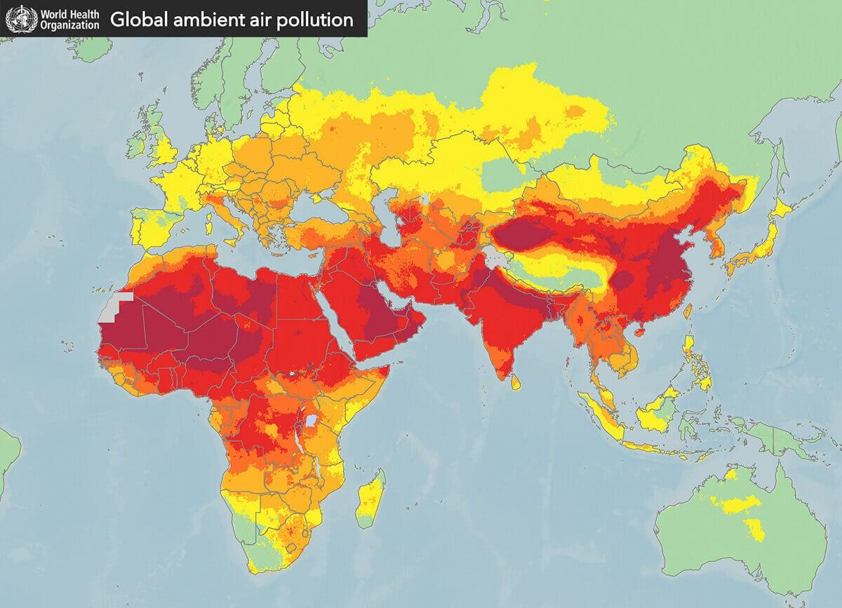 Mappa inquinamento dell'aria in Europa OMS