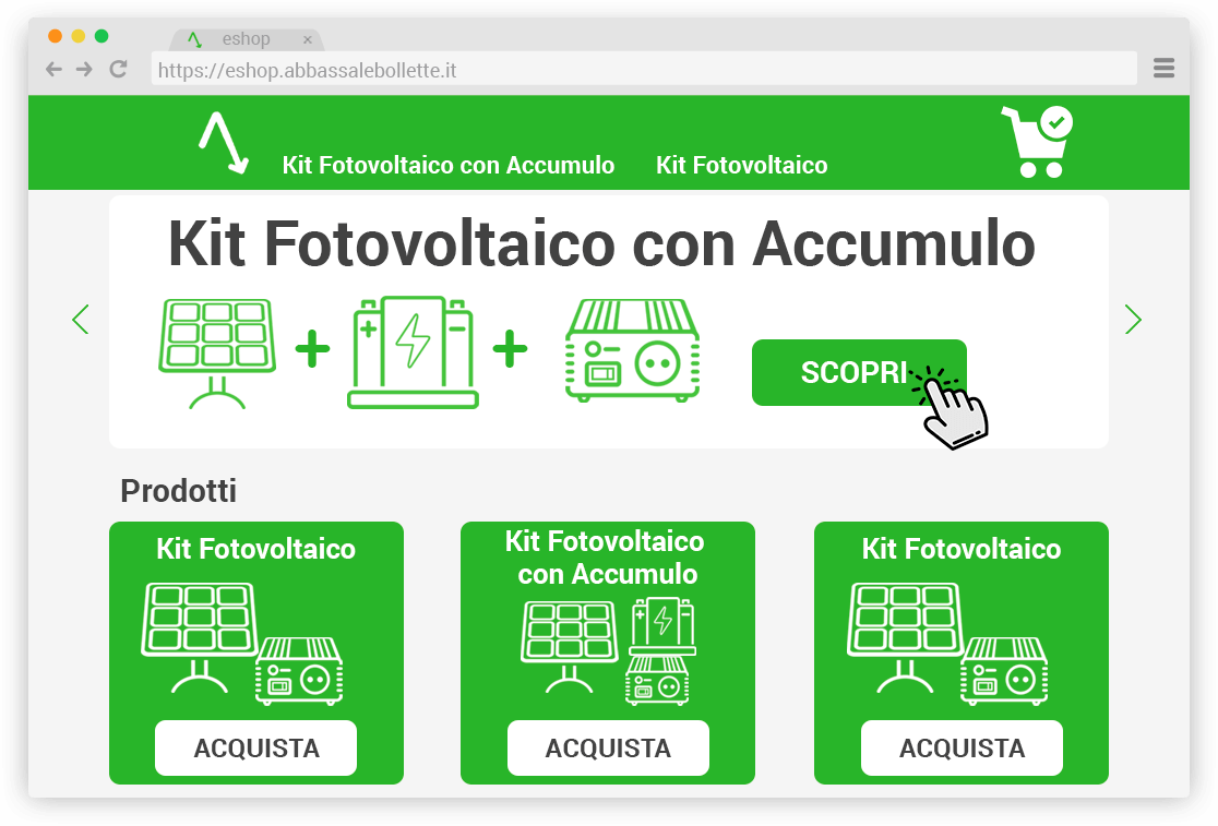 Acquista il Kit Fotovoltaico con Accumulo sullo Shop di Abbassalebollette