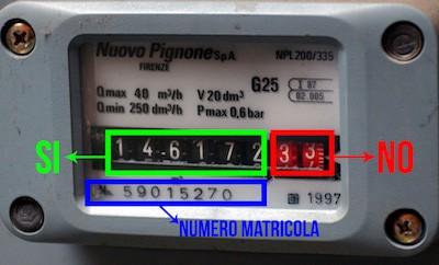 Autolettura vecchio contatore Gas Metano