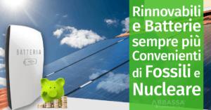 Rinnovabili e Batterie sempre più Convenienti rispetto a Fossili e Nucleare