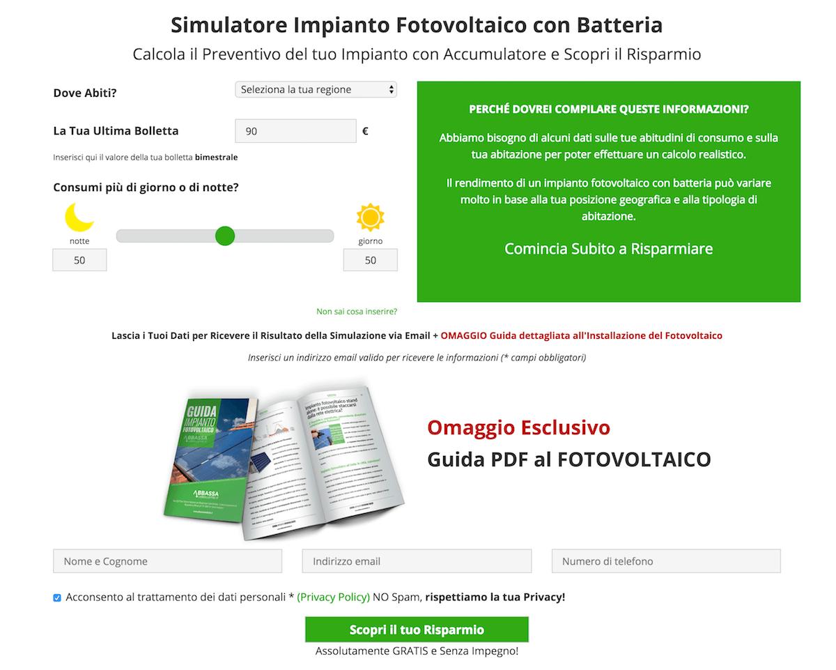 Simulatore Online Impianto Fotovoltaico con Batteria Abbassalebollette