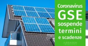 Gestore Servizi Energetici sospende termini e scadenze