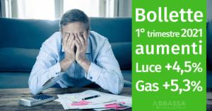Aumenti di Luce e Gas Metano nel 1 Trimestre 2021 in Maggior Tutela