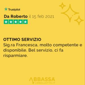 Recensione di Roberto: Ottimo Servizio | Abbassalebollette.it