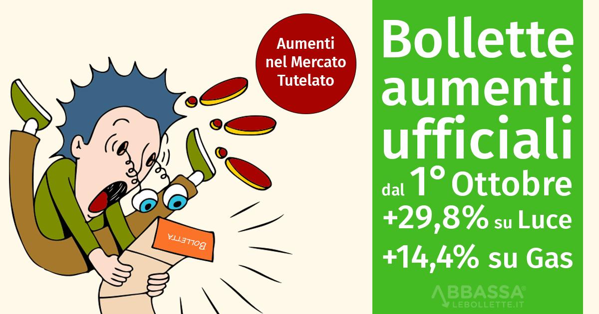 Bollette, aumenti ufficiali: dal 1° ottobre +29,8% per elettricità e +14,4% per gas